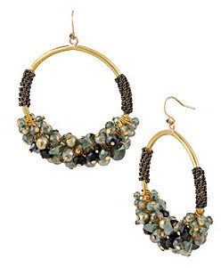 Kenneth Cole Faceted Green Bead Cluster & Chain Wrapped Hoop Earrings