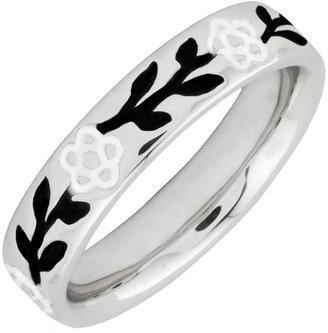 Simply Stacks Sterling Epoxy Enamel Flower andLeaves Ring