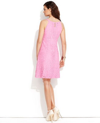 INC International Concepts Dress, Halter Colored-Lace A-Line