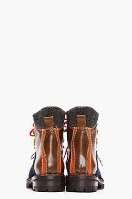 DSquared DSQUARED2 Brown Leather & Suede Patchworked Military Hiking Boots