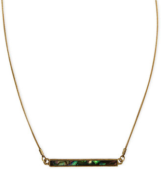 Rachel Roy Necklace, Worn Gold-Tone Abalone Horizontal Bar Necklace