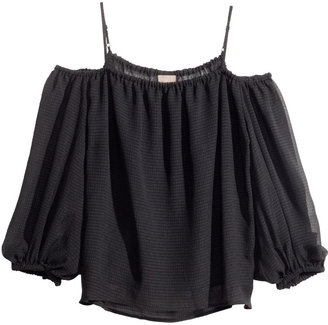 H&M Peasant Blouse - Black - Ladies