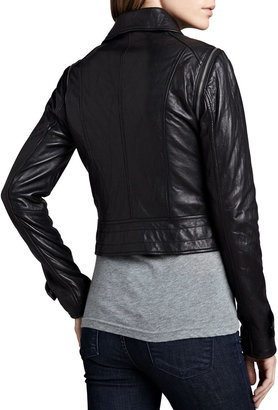 Neiman Marcus Cusp by Quilted-Panel Convertible Leather Jacket