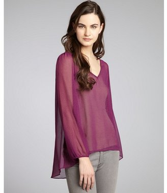 BCBGMAXAZRIA BCBGeneration plum and black dotted open v-back high-low blouse