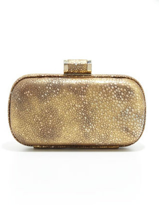 Halston Oblong Shimmery Leather Minaudiere