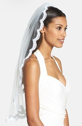 Wedding Belles New York 'Lola - Swarovski Crystal' Lace Border Veil $450 thestylecure.com