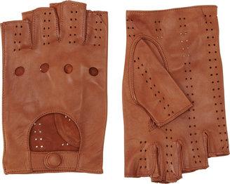 Barneys New York Perforated Fingerless Driving Gloves