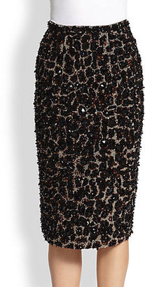 Burberry Beaded Leopard-Patterned Stretch Wool Skirt