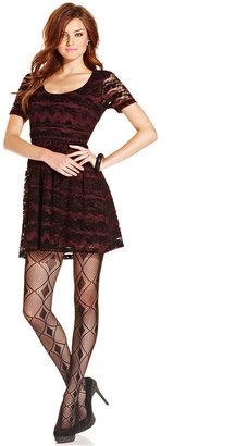 Jessica Simpson Dress, Short-Sleeve Lace A-Line