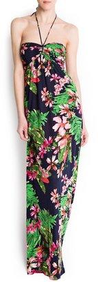MANGO Hawaiian print long dress