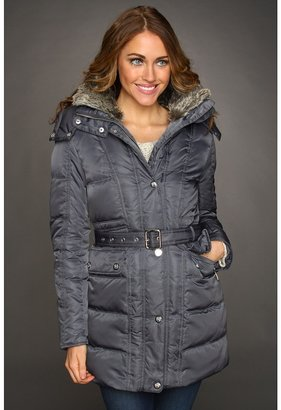 Vince Camuto Faux Fur Trim Quilted Coat w/ Belt (Smoke) - Apparel