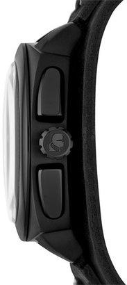 Karl Lagerfeld 'Keeper' Leather Cuff Watch, 46mm Black One Size