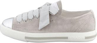 Prada Metallic Cap-Toe Suede Platform Sneaker, Gray