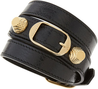 Balenciaga Giant 12 Yellow Golden Leather Wrap Bracelet, Black