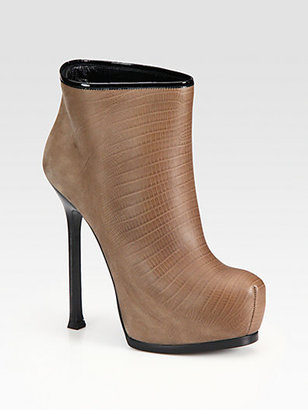 Yves Saint Laurent Lizard-Embossed Leather Platform Ankle Boots