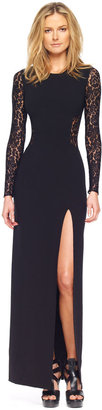 Michael Kors Lace Inset Side-Slit Gown