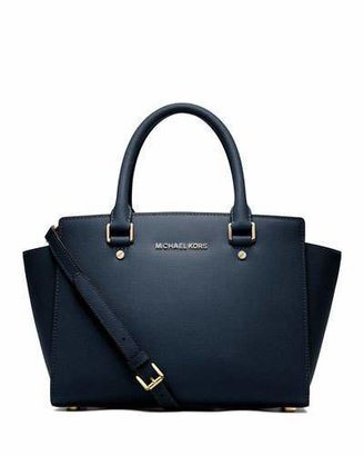 MICHAEL Michael Kors Selma Medium Top-Zip Satchel Bag, Navy $298 thestylecure.com