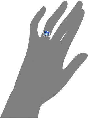 Arabella Sterling Silver Ring, Blue and White Swarovski Zirconia Princess Cut Ring (10 ct. t.w.)