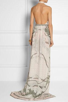 Balmain Printed silk halterneck gown