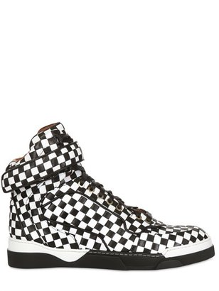 Givenchy 35mm Checkered Calf High Top Sneakers