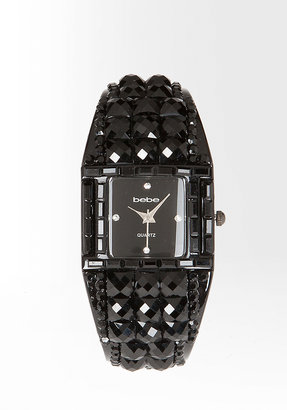 Bebe Jeweled Rhinestone Cuff Watch