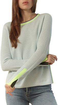 LISA TODD Stitch Mix Crewneck Cotton Sweater