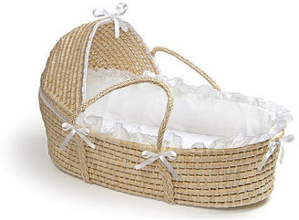 Badger Basket Toys Natural Moses Basket with Hood and White Bedding