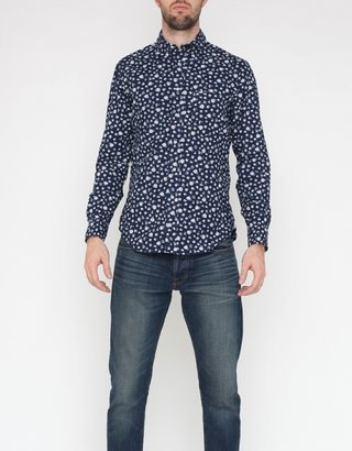 Gitman Brothers Vintage TH-S & Co. Button Down in Selvedge Indigo Floral Discharge Print