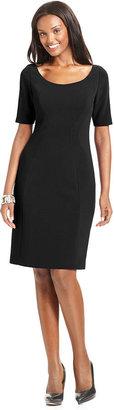 T Tahari Dress, Pepita Short-Sleeve Scoop-Neck Sheath