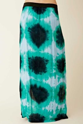 Blu Moon Soft Woven Two Slit Skirt in Aqua Tie Dye