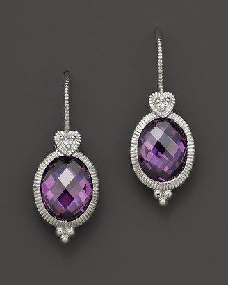 Judith Ripka Oval Stone Earrings with Heart on Wire in Purple Crystal