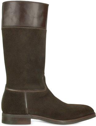 a. testoni A.Testoni Amedeo Testoni - Dark Brown Suede and Calf Leather Boot