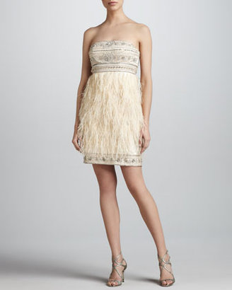 Sue Wong Beaded Feather Strapless Dress