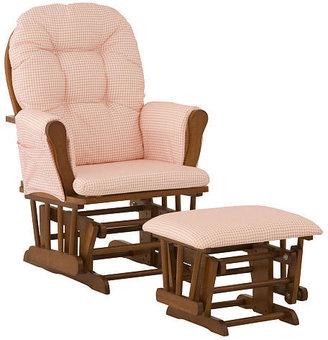 Stork Craft Storkcraft Hoop Glider and Ottoman - Cognac/ Pink Gingham Fabric