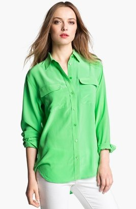 Equipment 'Signature' Silk Shirt Irish Green Large