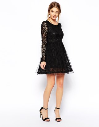 QED London Long Sleeve Lace Dress