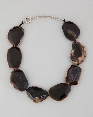 Panacea Chunky Agate Collar Necklace, Black