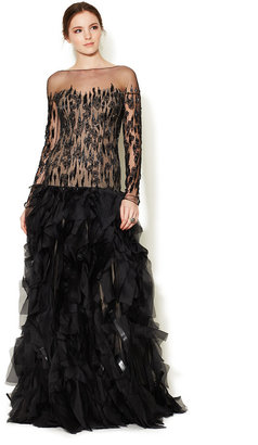Monique Lhuillier Embroidered Organza Embellished Bodice Gown