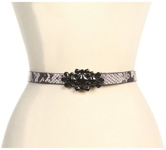 Jessica Simpson 3/4 Natural Snake With Rhinestone Plaque Buckle (Natural) - Apparel