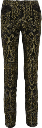 Roberto Cavalli High-rise velvet-jacquard pants
