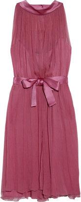 Alberta Ferretti Pleated silk-chiffon dress