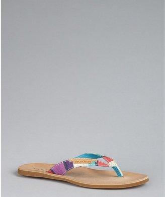 Hogan Iris Colorblock Canvas Flat Thong Sandals