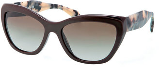 Prada Wide Tortoise-Arm Sunglasses, Brown/Multi