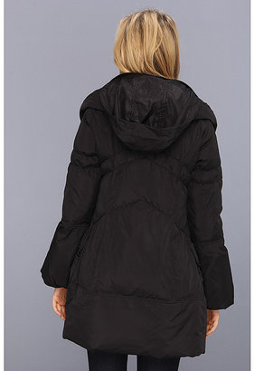 Betsey Johnson Asymmetrical Down Coat with Pillow Collar