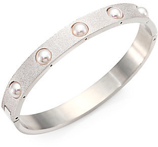Majorica 5MM White Pearl Brushed Bangle Bracelet/Silvertone