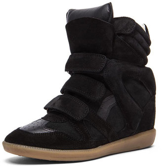 Isabel Marant Bekett Calfskin Velvet Leather Sneakers