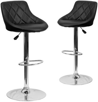"Lancaster Home 2PK Bucket Seat Adjustable Height Barstool - Diamond Pattern Back - 18.50""W x 19""D x 33.25"" - 41.75""H"