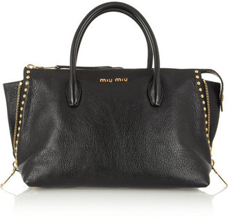 Miu Miu Shopping studded textured-leather tote