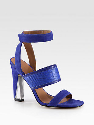 Sigerson Morrison Cam Suede & Snake-Print Leather Sandals