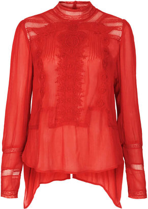 Topshop Embroidered Victoriana Blouse